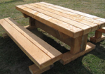 Solid timber sleeper picnic tables