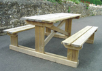 T frame treated pine outdoor picnic tables