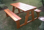 Hybrid outdoor timber picnic table
