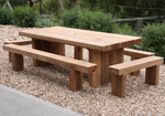 Solid ironbark picnic table and benches