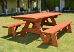 high quality finish picnic tables with separate benches