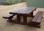 tough large outdoor timber cafe table and seats