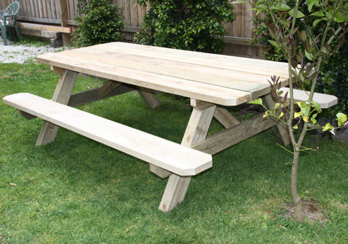 large solid outdoor timber picnic tables