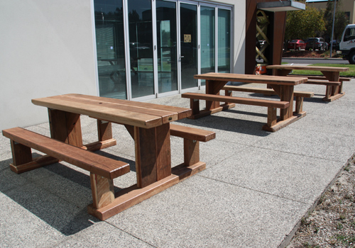 Solid wooden timber outdoor cafe tables and cafe furniture made from ...