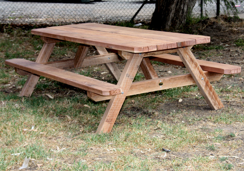 ironbark wooden picnic table