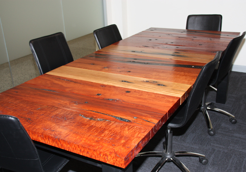 Rustic solid timber boardroom tables made from reclaimed recycled